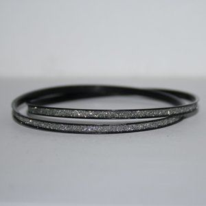 Pretty black and silver glitter bangle bracelet